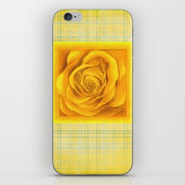Yellow Rose On Plaid iPhone Skin