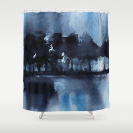 Blue Tree Reflections Shower Curtain