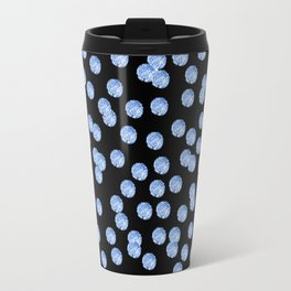 Blue Polka Dots on Black Pattern Travel Mug