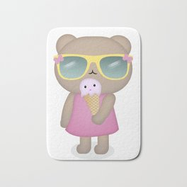 hello summer: cute bear with icecream Bath Mat