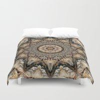 psych Duvet Covers featuring Mandala Isolation by Christine baessler