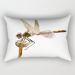 Dragonfly Resting On Seed Head Isolated Rectangular Pillow