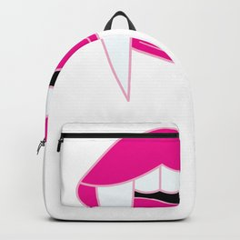 90s kiss mouth with fangs Backpack