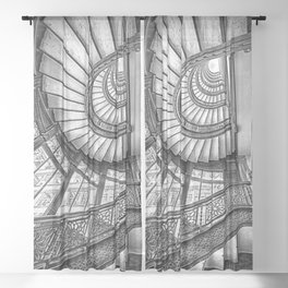 Rookery Building Frank Lloyd Wright Stairway & Glass Windows black and white photography  Sheer Curtain