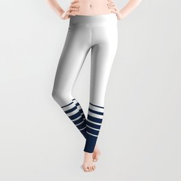 White blue striped pattern . Leggings