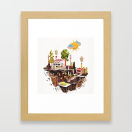 Floating Island in Low Poly style Framed Art Print