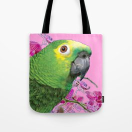 PINK TROPICAL GREEN PARROT & FUCHSIA ORCHIDS  ART Tote Bag