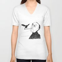 hitchcock V-neck T-shirts featuring Hitchcock by Elena Éper
