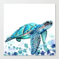 sea turtle Canvas Prints featuring Turtle by Ismay Verbeek