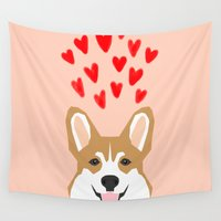 valentines Wall Tapestries featuring Valentines - Love Corgi  by PetFriendly