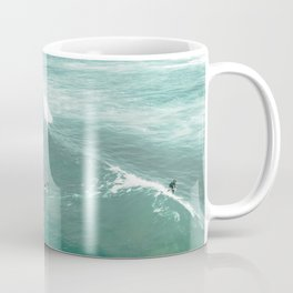 California Surf // Coastal Spring Waves Teal Blue and Green Ocean Huntington Beach Views Coffee Mug