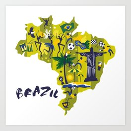 Abstract Brazil Soccer Mural Art Print