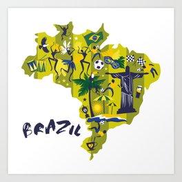 Abstract Brazil Soccer Mural Art Print