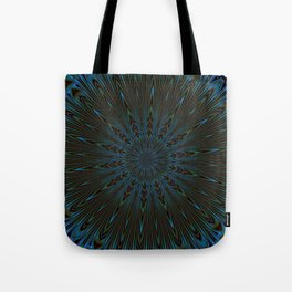 Teal and Brown Feather Abstract Tote Bag