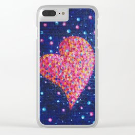 Graffiti heart on Brick Wall with Paint Splatters Clear iPhone Case
