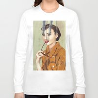 hepburn Long Sleeve T-shirts featuring Audrey Hepburn by FAMOUS WHEN DEAD