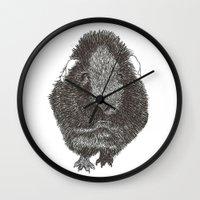 guinea pig Wall Clocks featuring Guinea Pig. by Elena O'Neill