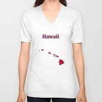 hawaii V-neck T-shirts featuring Hawaii Map by Roger Wedegis