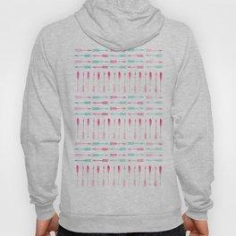 Trendy pink teal watercolor arrows pattern Hoody