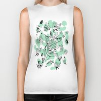 kitsune Biker Tanks featuring Kitsune Pattern by Birdcap