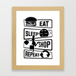 Eat Sleep Shop Repeat - Purchase Shoes Shopping Framed Art Print