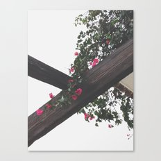Wooden & Flowers Canvas Print