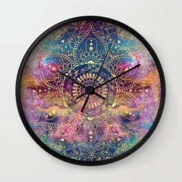 Gold watercolor and nebula mandala Wall Clock