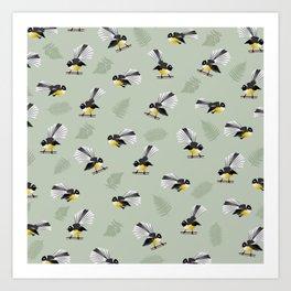 Fantail Bird Pattern Art Print