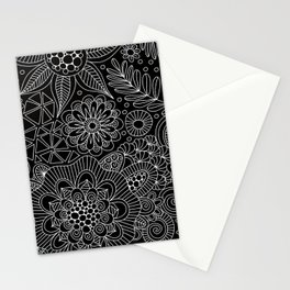 Black Doodle Pattern Stationery Cards