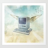 mac Art Prints featuring flying Mac by Vin Zzep