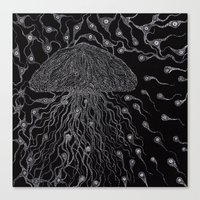 jelly fish Canvas Prints featuring Jelly Fish by OKAINA IMAGE