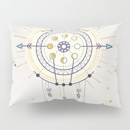 Moon phases with gold - lunar illustartion no3 Pillow Sham