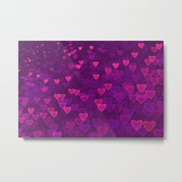 Abstract Pink Ultra Violet Love Heart Pattern | St Valentines day Metal Print