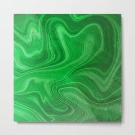 Green Swirl Marble Metal Print
