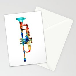 Colorful Trumpet Art By Sharon Cummings Stationery Cards