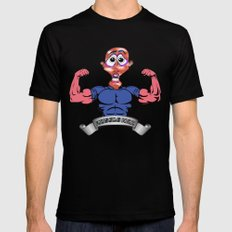 Muscle Man MEDIUM Black Mens Fitted Tee