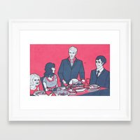 pushing daisies Framed Art Prints featuring Pushing Daisies + Hannibal: Dinner Party by Mandy Quesadilla