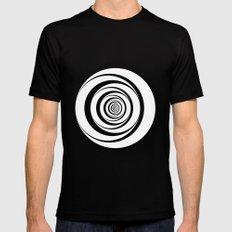 Black White Circles Optical Illusion 2X-LARGE Black Mens Fitted Tee