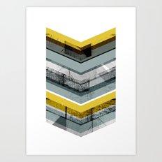Grey & Yellow Chevron Art Print