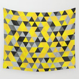 Sunny Yellow and Grey / Gray - Hipster Geometric Triangle Pattern Wall Tapestry