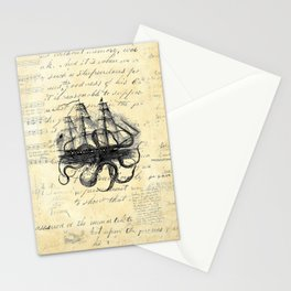 Kraken Octopus Attacking Ship Multi Collage Background Stationery Cards