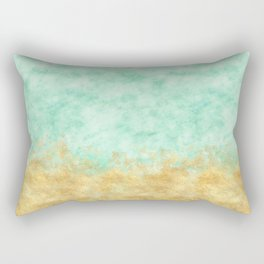 Pretty Mint Gold Glam Watercolor Rectangular Pillow