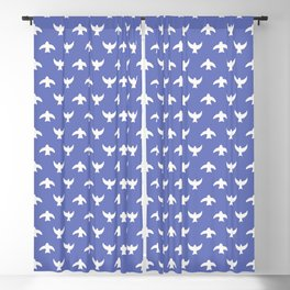 White Birds In A Blue Sky Graphic Pattern Blackout Curtain