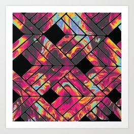Stencil and Tie Dye Pattern Art Print