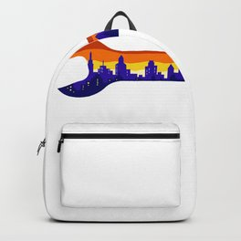 Wrench With Cityscape Buildings Silhouette Retro Backpack