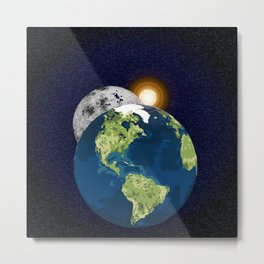 Earth Moon and Sun Metal Print