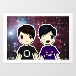 Dan and Phil chibi Art Print
