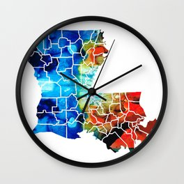 Louisiana Map - State Maps By Sharon Cummings Wall Clock