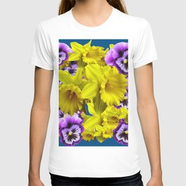 YELLOW SPRING DAFFODILS & LILAC PANSIES BLUE COLOR T-shirt