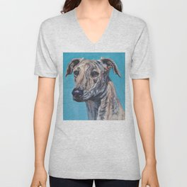 Azawakh sighthound dog portrait art from an original painting  by L.A.Shepard Unisex V-Neck